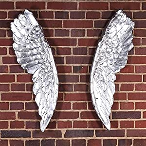 DESIGN SCULPTURE WINGS decoration for walls angel figure in antique silver       reviews