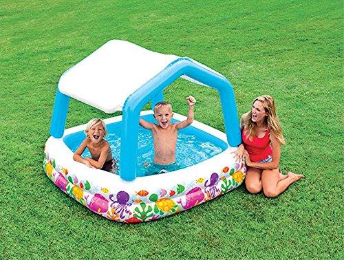 Schwimmbecken planschbecken pool mit sonnendach for Badepool aufblasbar