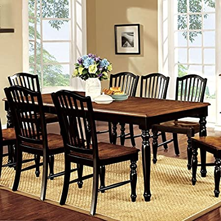 Mayville Country Style Black & Antique Oak Finish 5-Piece Dining Table Set