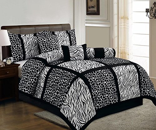Chezmoi Collection 7 Pieces Black White Micro Fur Zebra Giraffe Safari Patchwork Comforter Set King Size front-1006383