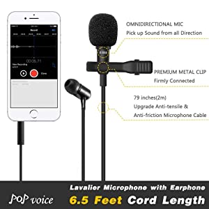 PoP voice One-piece Design Lavalier Microphone with Earphone, Perfect for Recording Youtube/Vlogging/Interview/Podcast/Voice Chat, fit for iPhone/Andr