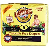 Earth's Best Chlorine-Free Diapers, Size 5, 104 Count (Packaging May Vary)