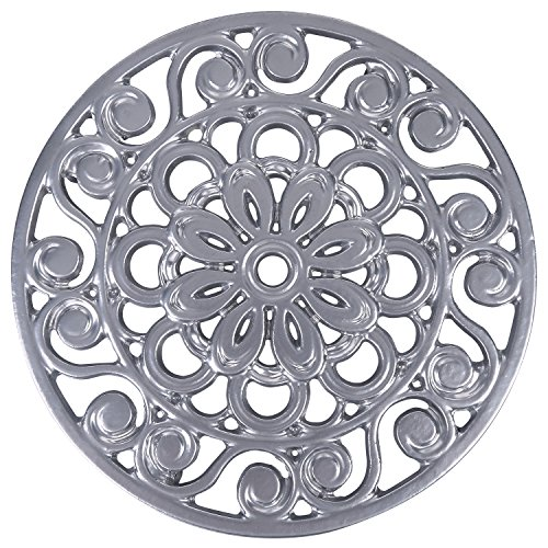 Trademark Innovations Decorative Cast Iron Metal Trivet, Silver (Hot Plate Rack compare prices)