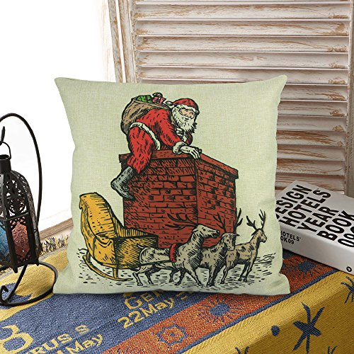 Washable Zippered Throw Pillow Covers : Homar Pillowcases - Santa Claus Carrying Gift Bag Print Pattern Christmas Decorative Throw ...