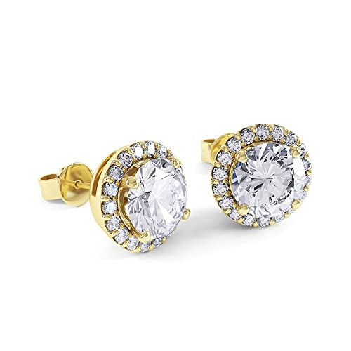 2ct Stardust Diamond Halo Stud Earrings (18ct Yellow Gold)