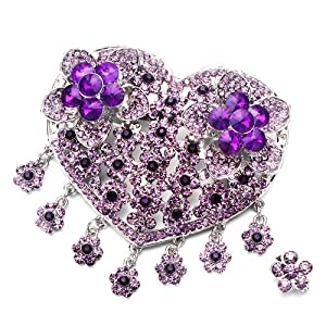 Pugster Luxury Vintage February Birthstone Amethyst Crystal Heart Flower Set Brooches And Pins
