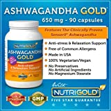Nutrigold Ashwagandha Extract, 650 mg, 90 Vegetarian Capsules (Ashwagandha GOLD with Clinically-Proven Sensoril and Ashwagandha Root Powder)