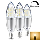 Rayhoo E12 Base LED Light Bulbs Dimmable, Candelabra LED Bulbs 10W, Incandescent 80-100W Bulb Equivalent, Warm White 3000K, 3 Pack (Color: Warm White 3000K)