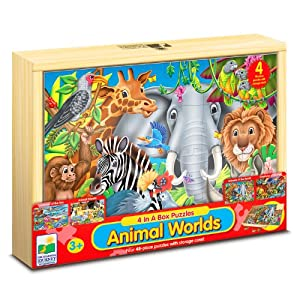 The Learning Journey 4 In A Box Wooden Puzzle Set - Animal Worlds