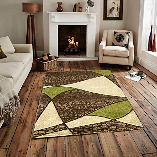 Easy Clean Brown Beige Green Mosaic Lounge Rug - 110 cm x 160 cm (3'7