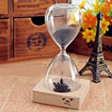 Great Value Magnetic Gadgets Creative Toy Iron Powder Magnet Hourglass with Wooden Holder