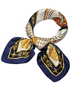 Urban CoCo Women's Silk Square Graphic Print Neckerchief (navy)