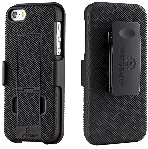 WizGear Shell Holster Combo Case for Apple iPhone Se / 5 / 5S with Kick-Stand and Belt Clip - (Fits Att, Verizon, T-Mobile Sprint) (Iphone 5 Case With Clip compare prices)