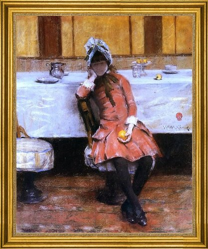 "William Merritt Chase Young Girl On An Ocean Steamer - 20"" X 25"" Framed Premium Canvas Print front-345760"