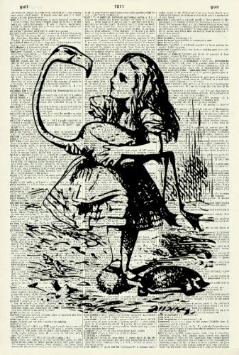 ALICE AND THE FLAMINGO - Alice in Wonderland - Whimsical Art - Vintage Dictionary Art Print - Wall Hanging 222D