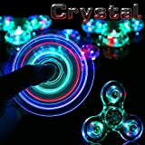 Stryker [TM] Crystal Clear LED Light Acrylic Hand Spinner Fidget EDC ADHD Stress Reducer Focus Anxiety Relief for Adults & Kids Glow in the Dark (Color: Crystal Clear)