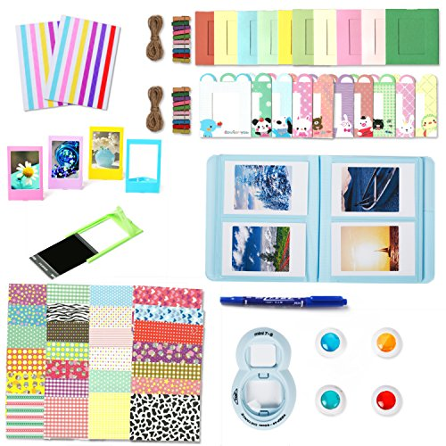 Fujifilm Instax Mini 8 Accessories, Leebotree Camera 8 7s Bundles Set Include Album/selfie Lens/colored Filters/wall Hang Frames/film Frames/border Stickers/corner Stickers/pen (Blue without Bag)