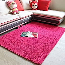 Chenille Bath Pink Area Rug Non-Slip Absorbent Floor Mat Swivel Chair/Bedroom/Home Floor Carpet Super Cozy Fluffy Rug (4\'0x6\'6, pink)