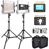 SAMTIAN 3960 Lux LED Video Light 3200-5600K 200 SMD LED Panel with LCD Display, CRI 96, U Bracket, 75 Inches Light Stand for YouTube Studio Photograph