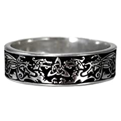 Narrow Celtic Knot Dragon Ring Triquetra Ring Band for men or women (sz 5-13)