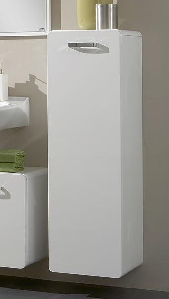 Held Möbel 217.2082 Midi Placard 1 porte 3 étagères en verre Blanc brillant 35 x 112 x 35 cm