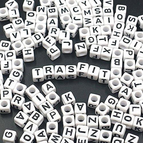 Trasfit 600 Pieces White Acrylic Alphabet Letter