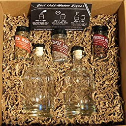 Untold Goods Spirits Infusion Kit - Quickly Add Flavor to Gin Rum Whiskey (Hibiscus Chai Coffee, 3 Vials + 2 Bottles)