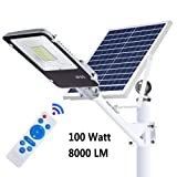 ECO-WORTHY 100 W Solar Street Flood Lights Outdoor Lamp, 8000LM White 6500K with Remote Control Dusk to Dawn Security Lighting for Yard, Garden, Gutter, Basketball Court, Arena, Lawn (Color: Silver, Tamaño: 100W)