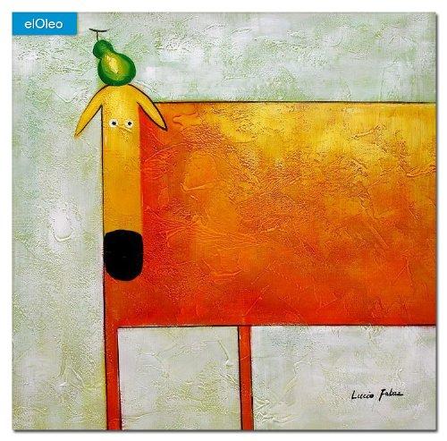 elOleo Pop Art – Der lustige gelbe Hund 80×80 Gemälde auf Leinwand handgemalt 83450A günstig bestellen