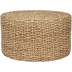 Oriental Furniture Rush Grass Knotwork Coffee Table/Ottoman - Natural