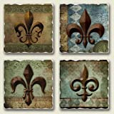Bourbon Street Fleur De Lis Assorted Tumbled Stone Coaster Set of 4 by Highland Graphics ~ AbsorbaStone