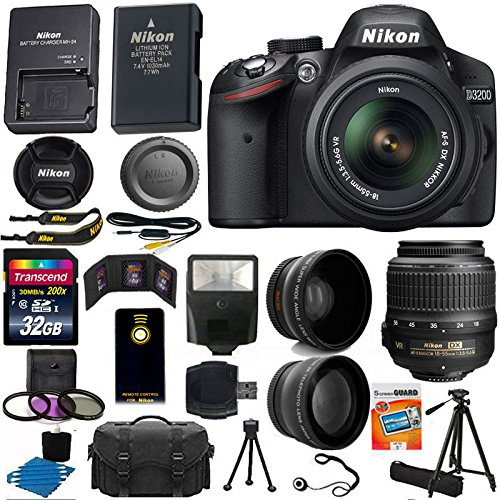 Lowest Price! Nikon D3200 24.2 MP CMOS Digital SLR Camera (Black) 18-55mm f/3.5-5.6G ED II AF-S DX Z...