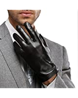 Best Winter Mens Leather Gloves Made of Australia Lambskin,concise&noble,drive/work/motorcycle Riding/cycling(Fleece Lining)