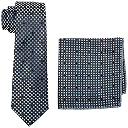 Tossido Men's Synthetic Tie Set (THKN39_Black and Grey)
