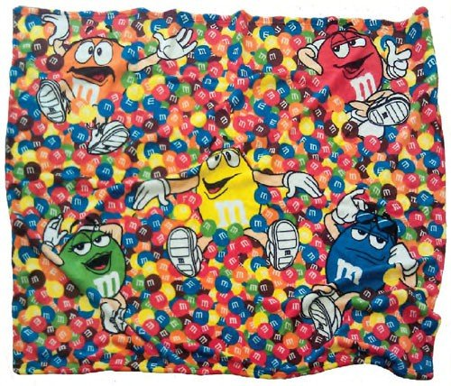 M&M'S Chocolate Candy Character Faces Fleece Blanket front-915296