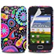 Colorful Jelly Fish Design - Silicone Gel TPU Mobile Phone Case Cover For Samsung Galaxy Ace S5830 + Clear Screen Film Protector Proctector / Black