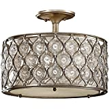 Murray Feiss SF289BUS Lucia Collection 3-Light Semi-Flush, Burnished Silver Finish with Beige Fabric Shade and Clear Gems
