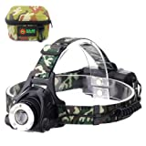 LED Headlamp, Ultra Bright Flashlight, Zoomable for Hunting - Camouflage Headlight for Camping and Fishing - Rechargeable, Waterproof, 3 Light mode Headlamps for Outdoor Activities with USB Cable (Color: green)