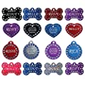 Swarovski Crystal Pet Id Tags - Fun, Stylish, Bling in Bone, Round, and Heart Shapes