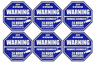 "6 ""REAL"" Blue Octagon-Shaped Video Surveillance System Security Door & Window Stickers 3 X 3 Inch 3M Vinyl Decals"