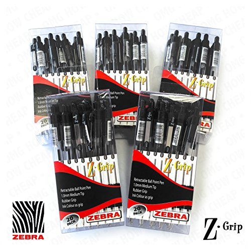 Z-Grip-Kugelschreiber-versenkbar-Wirtschaft-auf-100-Stck-im-Marken-Schreibtisch-geeignet-klar-Boxen-Schwarz