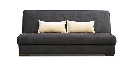Schlafsofa Abele in dunkelbraun mit Bettfunktion und Staukasten - Abmessungen: 203 x 91 cm (B x T)