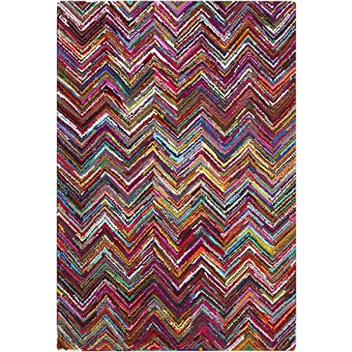 9' X 13' Electric Chevrons Magenta Pink, Cornsilk Yellow And Sea Blue Hand Hooked Area Throw Rug