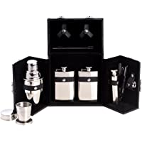 Ten Piece Stainless Steel Bar Set in a Black Leather Carrying Case