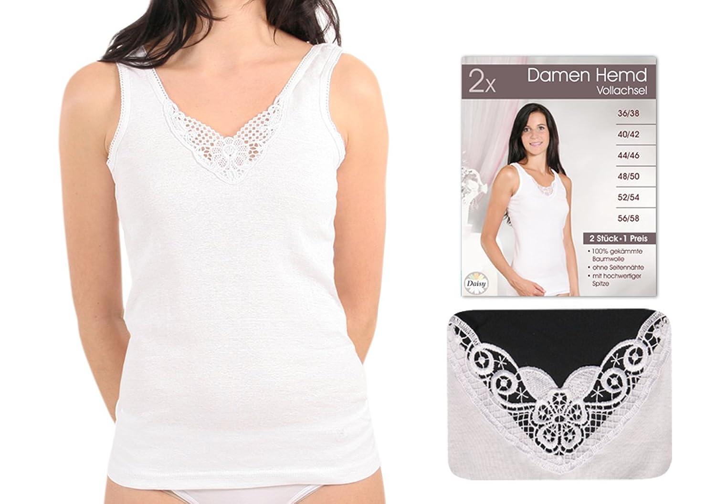 4, 8 oder 16 Stück feine Damen Vollachsel-Unterhemden weiß mit Spitze, 100% gekämmte Baumwolle Größe 36/38 bis 56/58 günstig kaufen