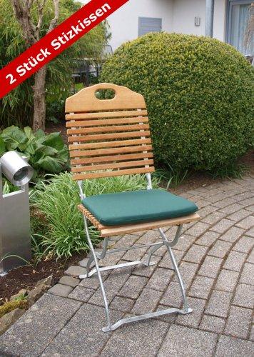 2x Sitzkissen BAD TÖLZ für Gartenstühle 40x41cm, dunkelgrün günstig online kaufen
