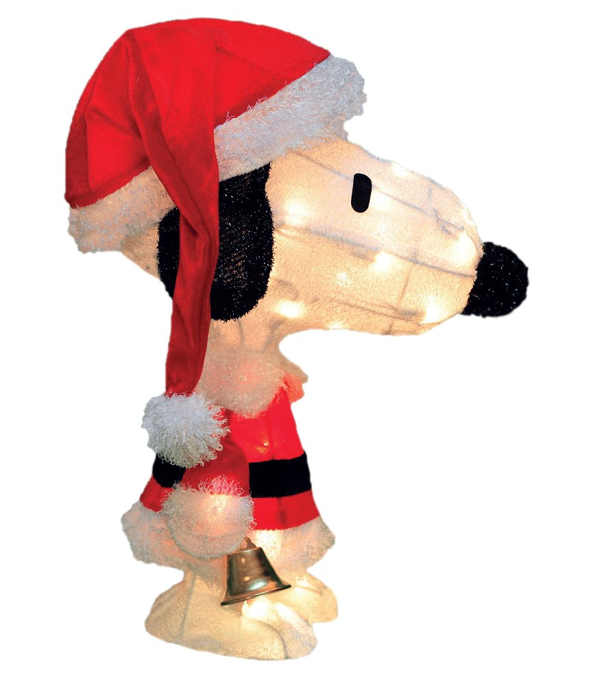 Snoopy outdoor christmas decorations - 18 Pre Lit Peanuts Soft Tinsel Santa Claus Snoopy Christmas Yard Art Decoration Clear Lights Snoopy Is All Decked Out In His Santa Suit For Christmas In