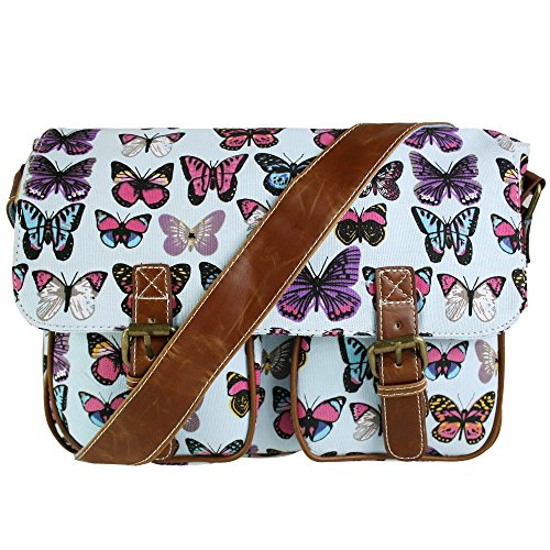 Miss-Lulu-Ladies-Girls-Butterfly-Print-Purse-Wallet-Satchel-Messenger-Crossbody-Shoulder-Handbag