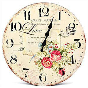 """chinkyboo 13"""" Chic Vintage Love Rose Flower Wall Clock Wooden Art Home Decor by chinkyboo"""
