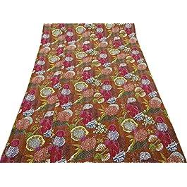 Beige de la impresión floral de algodón acolchado reversible Decor Kantha Gudri Colcha Indian Art 88